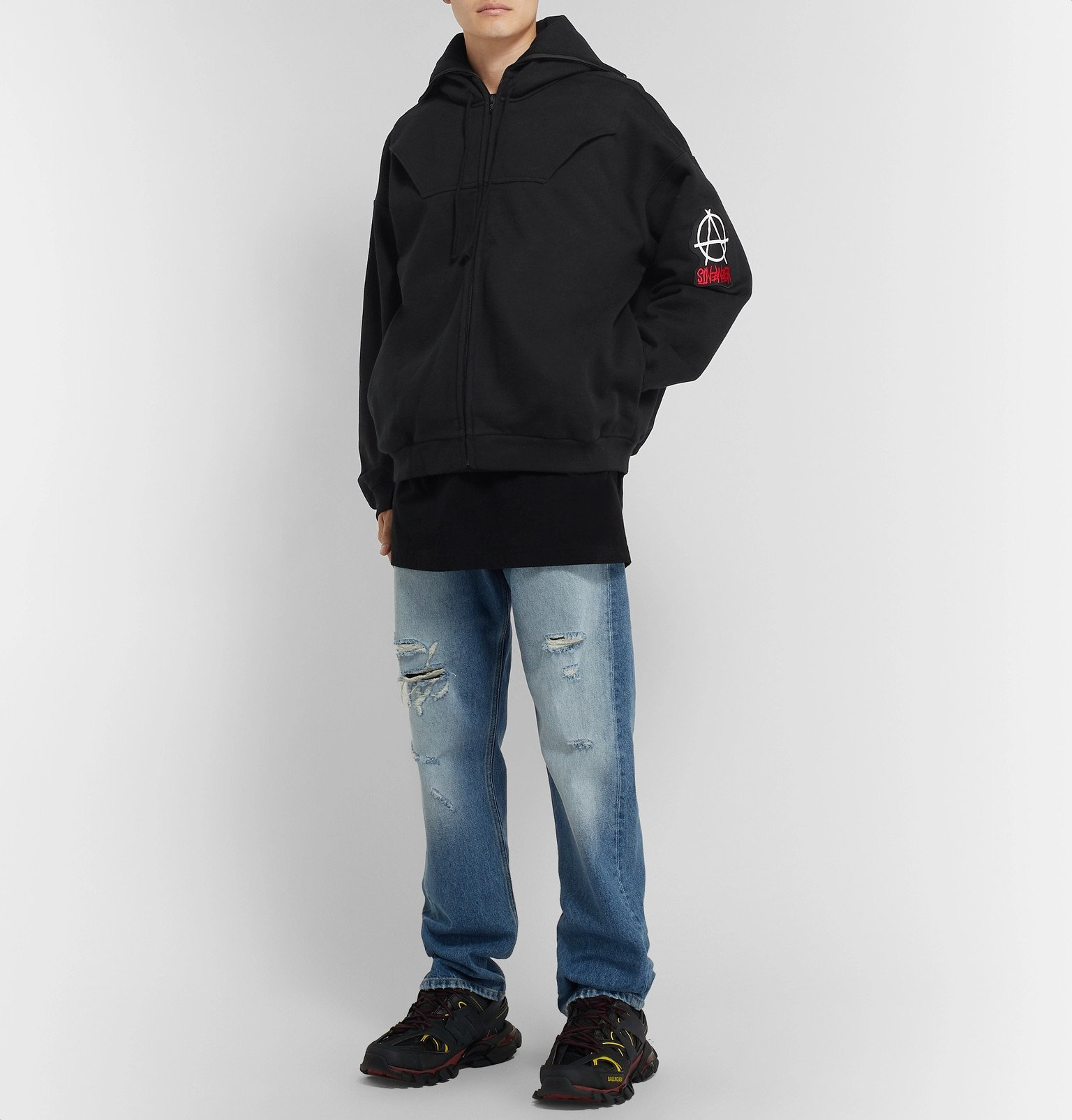 Vetements - Logo-Appliquéd Fleece-Back Cotton-Jersey Zip-Up Hoodie - Black
