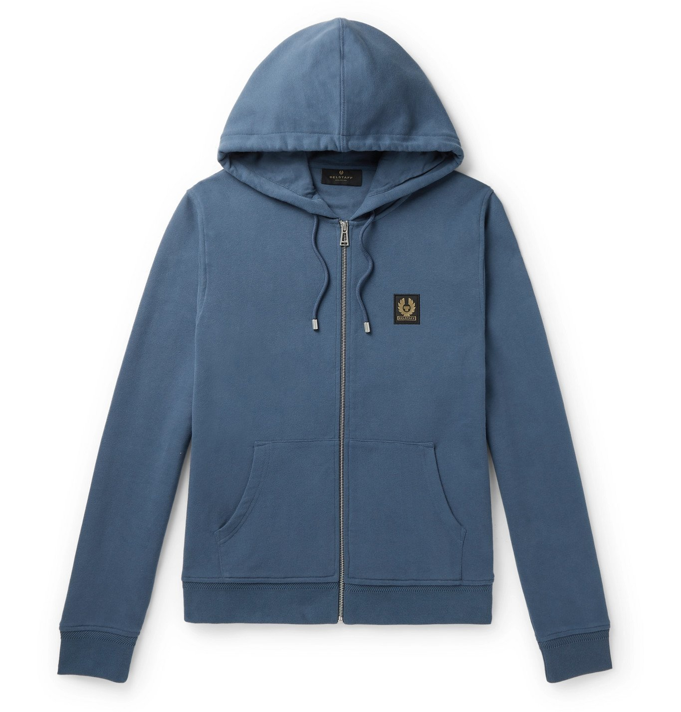 Photo: BELSTAFF - Logo-Appliquéd Loopback Cotton-Jersey Zip-Up Hoodie - Blue
