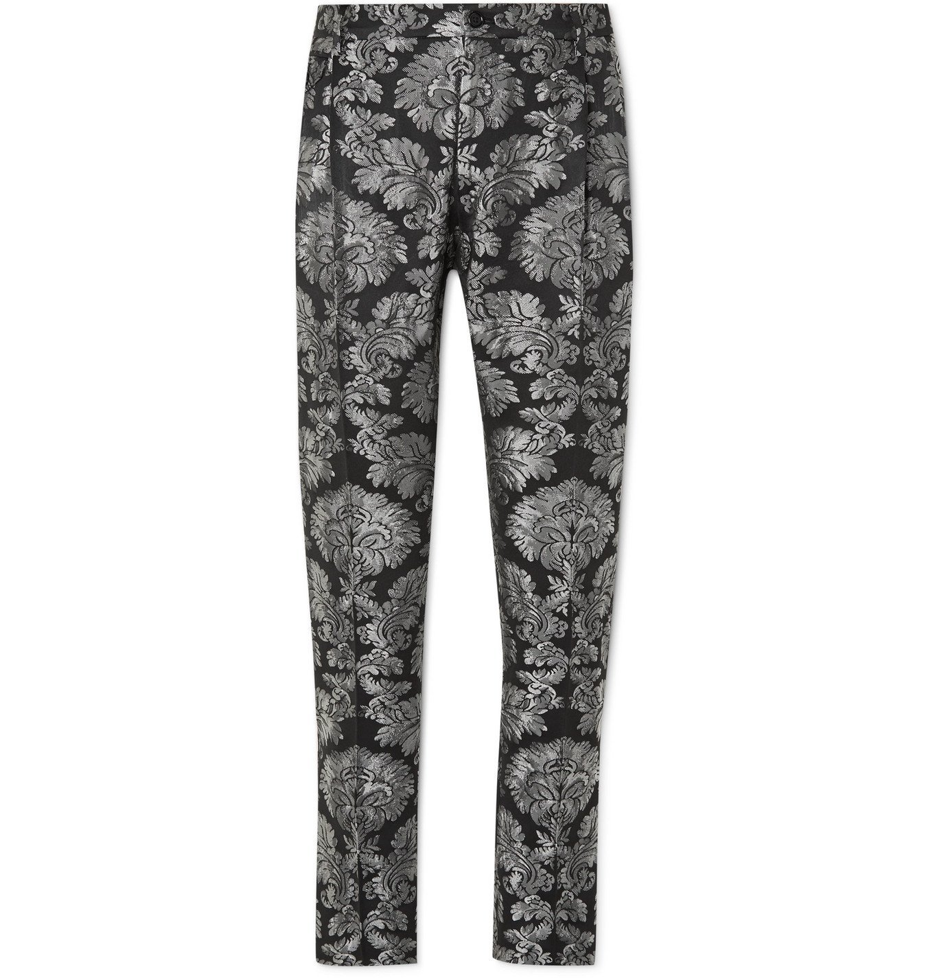 Photo: Dolce & Gabbana - Tapered Brocade Trousers - Silver
