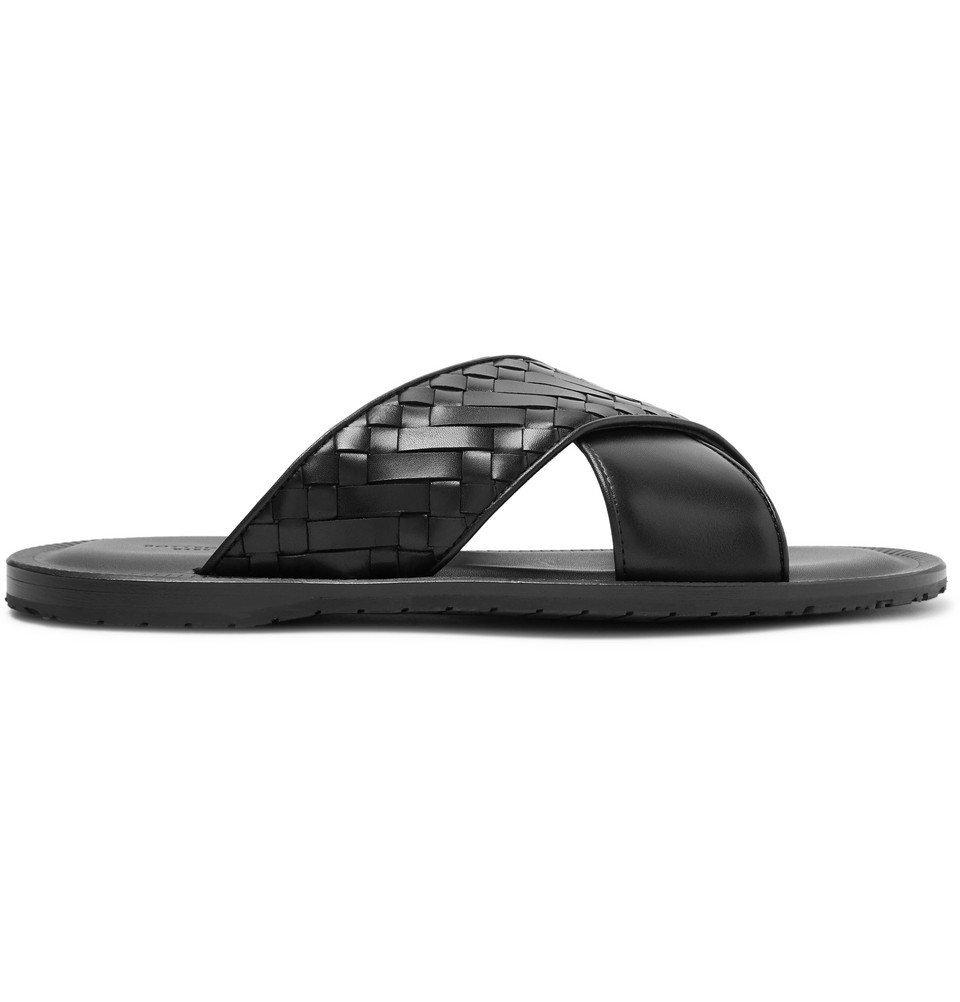 Bottega Veneta - Intrecciato Leather Sandals - Men - Black