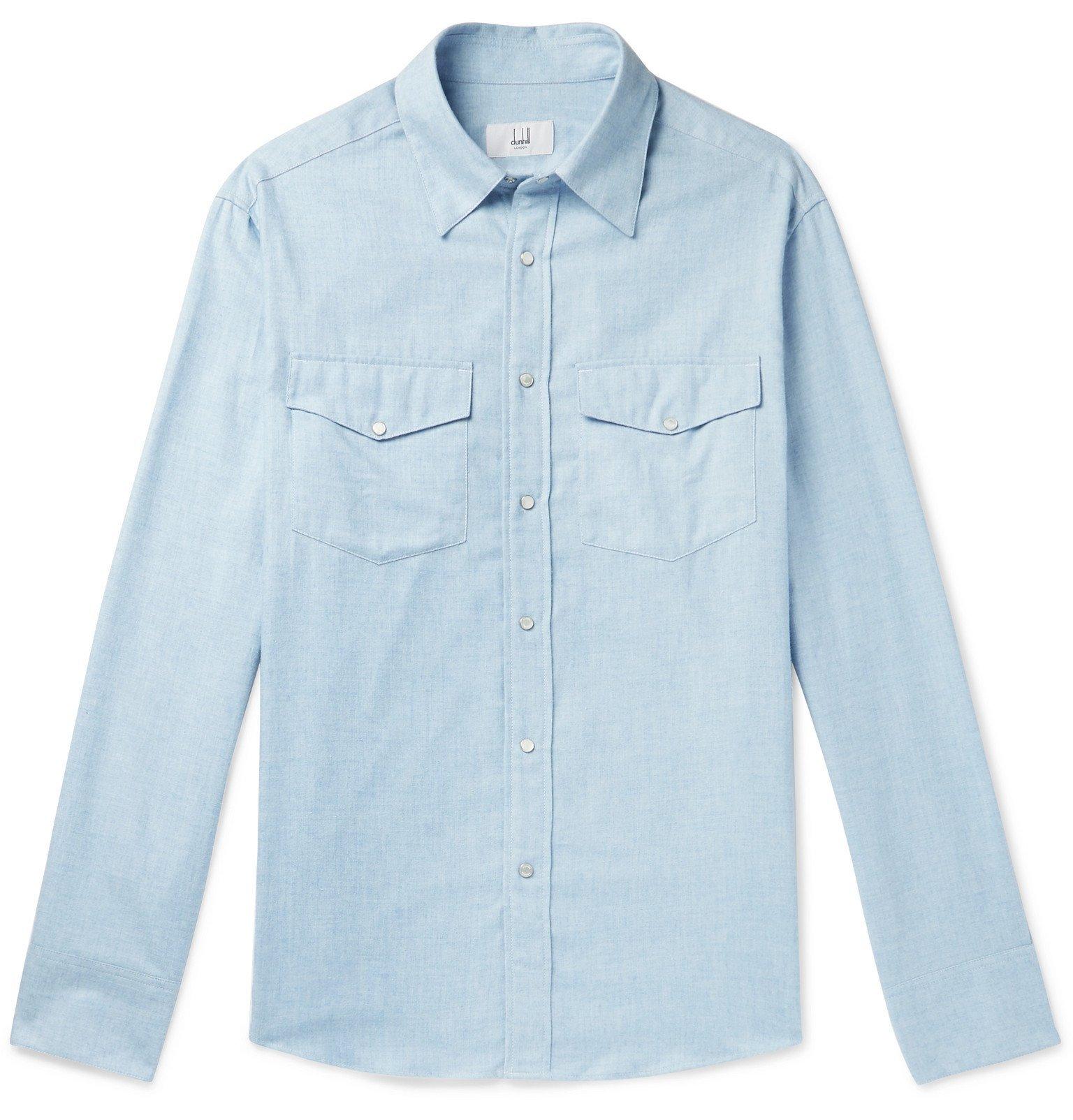 Dunhill - Cotton and Cashmere-Blend Western Shirt - Blue