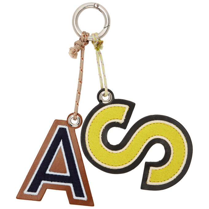 Photo: Acne Studios Yellow and Blue Letters Keychain