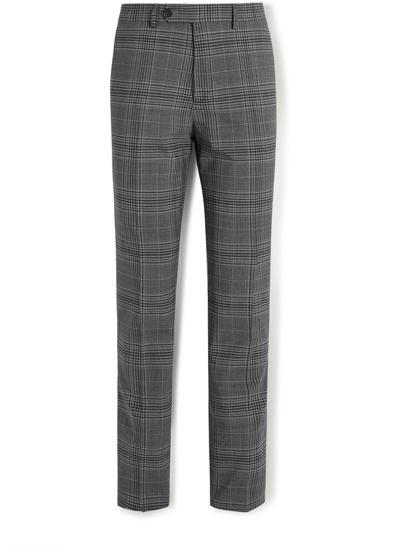 Photo: Mr P. - Slim-Fit Checked Virgin Wool-Blend Trousers - Blue