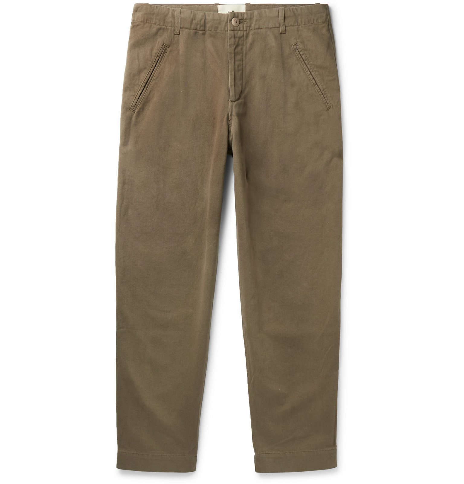 Photo: Folk - Assembly Tapered Pleated Cotton-Canvas Trousers - Green