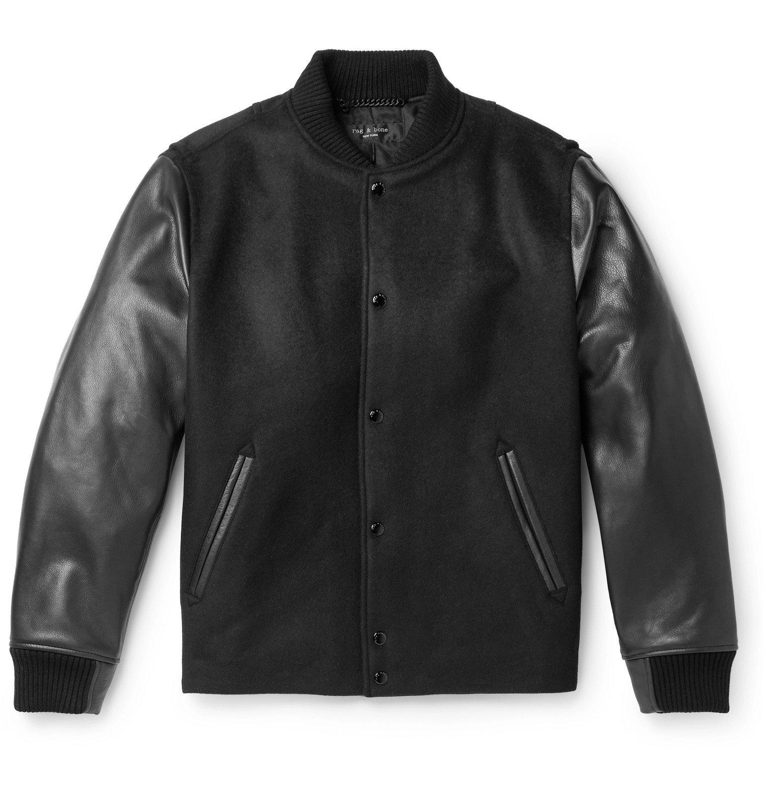 Photo: rag & bone - Boulder Leather and Wool-Blend Bomber Jacket - Black