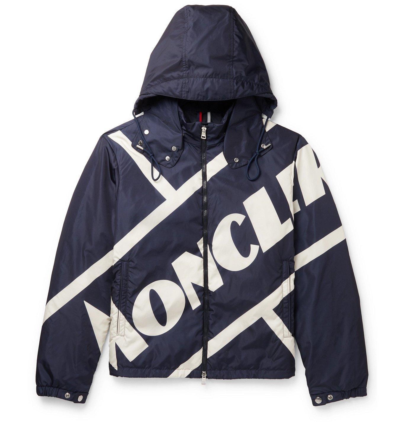 Photo: Moncler - Slim-Fit Logo-Print Shell Hooded Down Jacket - Blue