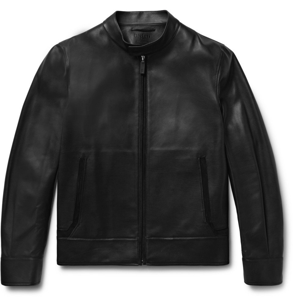 Photo: Berluti - Suede-Trimmed Leather Biker Jacket - Men - Black