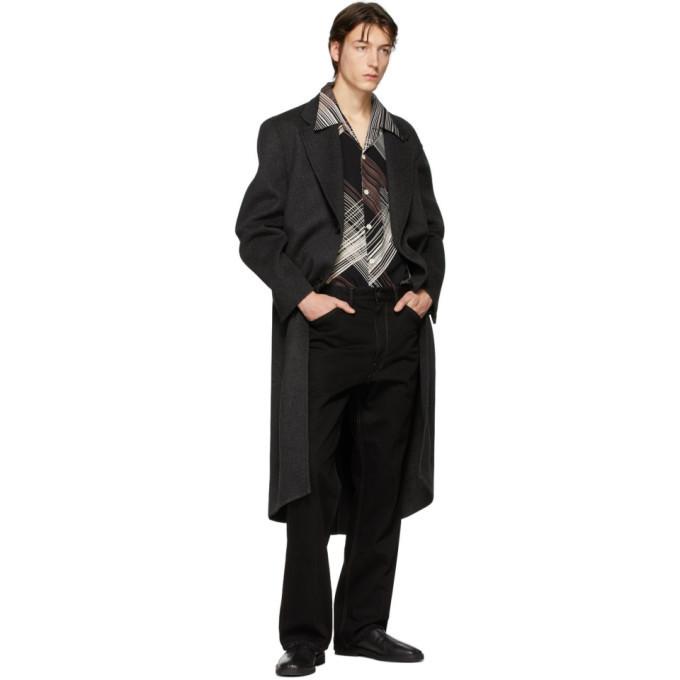 Lemaire Black Convertible Collar Short Sleeve Shirt