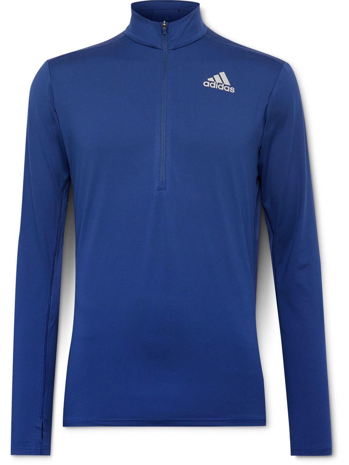 Photo: adidas Sport - Own The Run Logo-Print AEROREADY Half-Zip Top - Blue