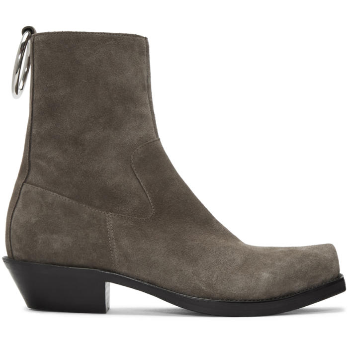 Photo: Vetements Taupe Suede Ring Ankle Boots