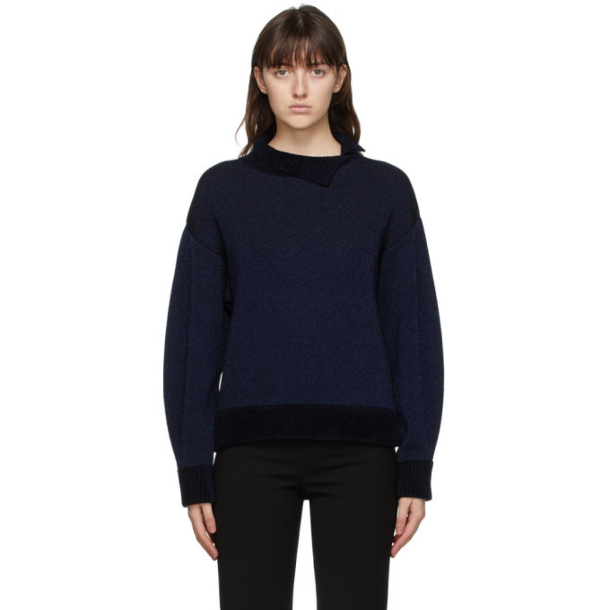 3.1 Phillip Lim Navy and Silver Double-Faced Lurex Sweater