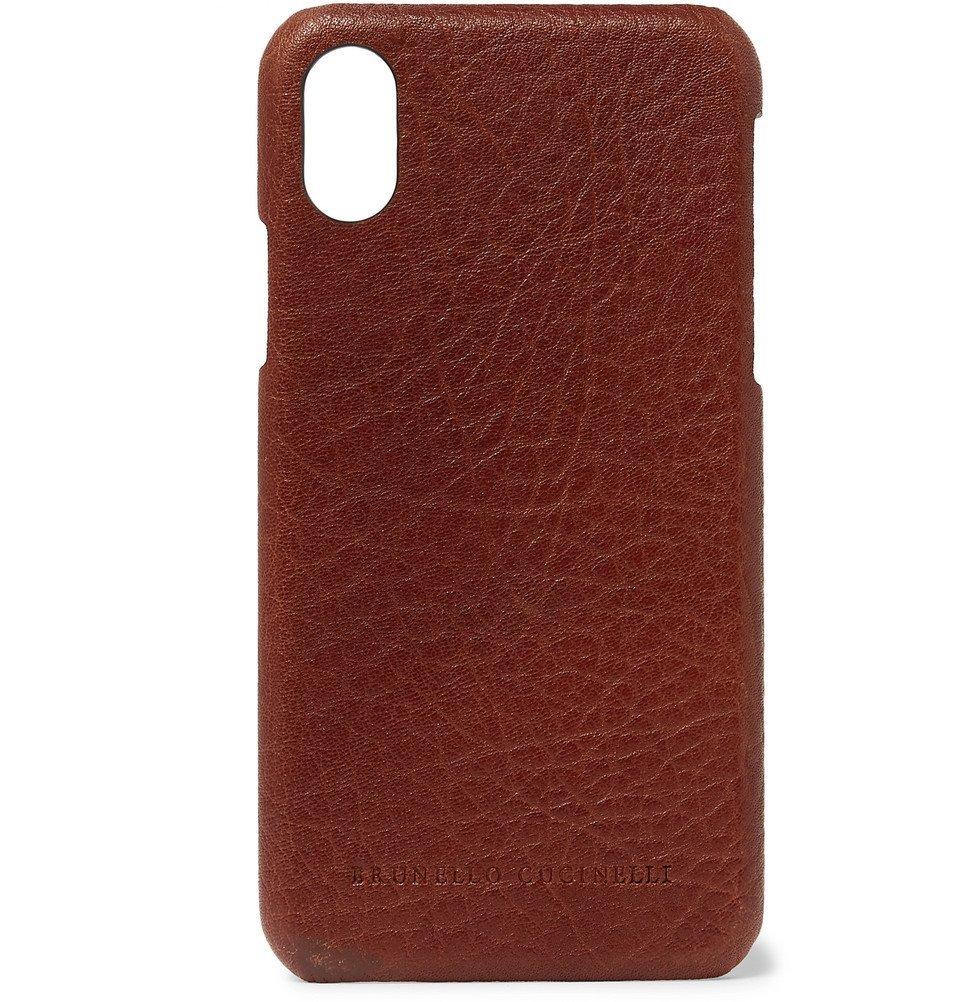 Photo: Brunello Cucinelli - Full-Grain Leather iPhone X Case - Brown