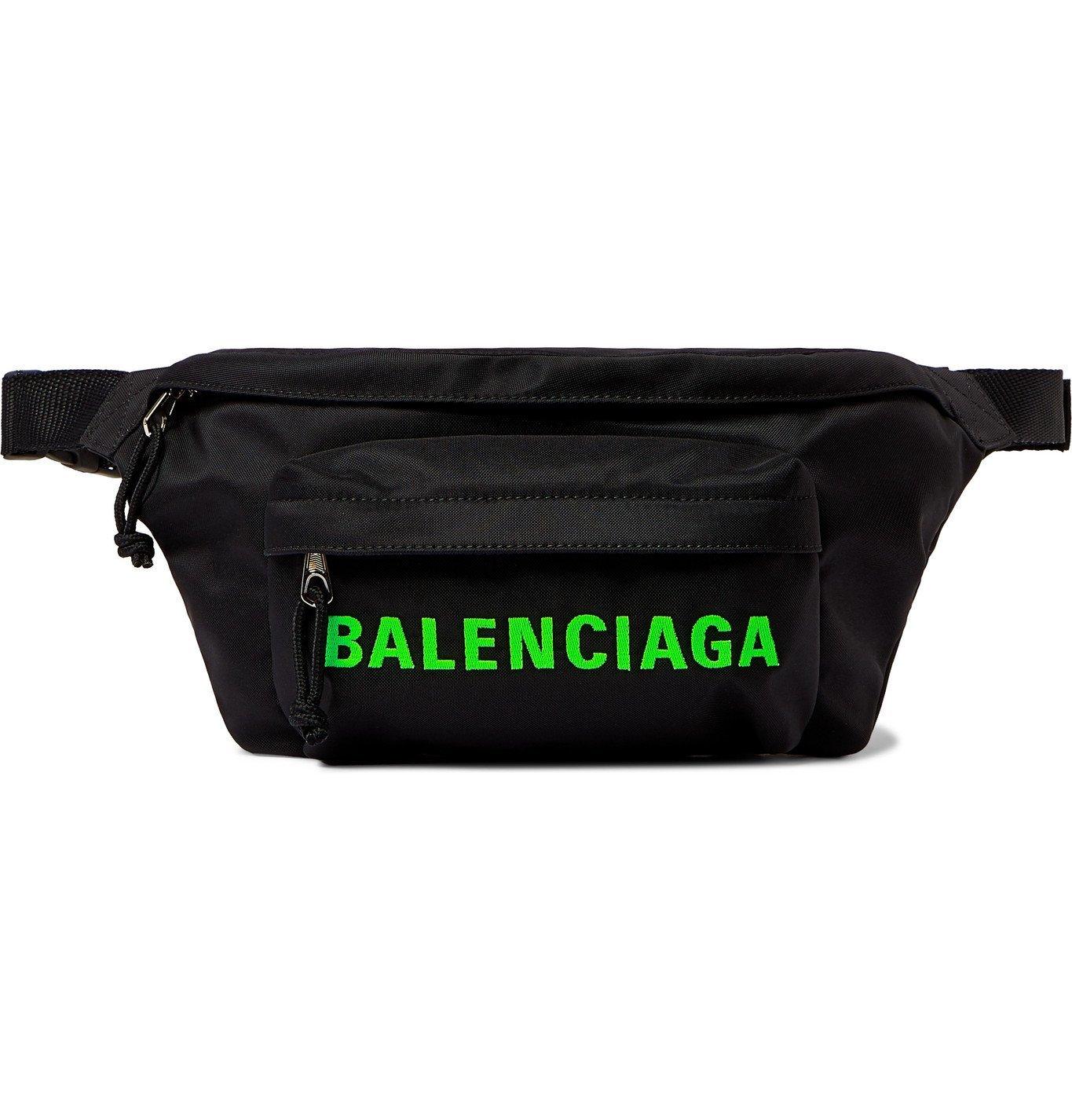 Photo: BALENCIAGA - Logo-Print Canvas Belt Bag - Black
