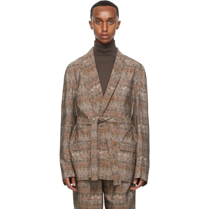 Photo: Lemaire Pink Silk Brick Print Double-Breasted Belted Blazer