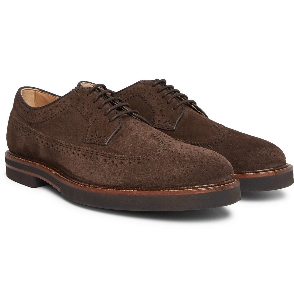 Photo: Tod's - Suede Wingtip Brogues - Dark brown