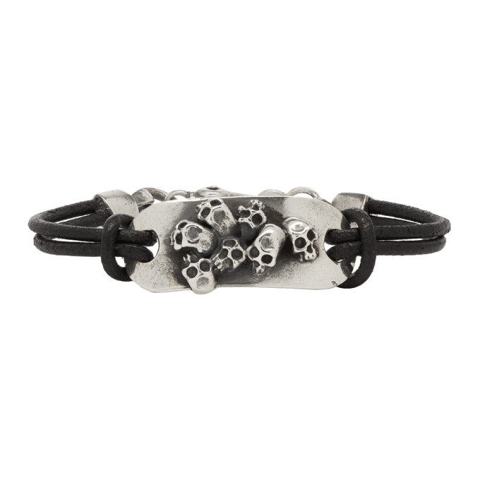 Photo: Luka Sabbat x Monini Black Plain Multi Skulls Plate Bracelet