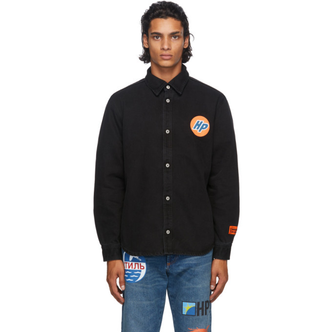 Photo: Heron Preston Black Denim Techno Shirt