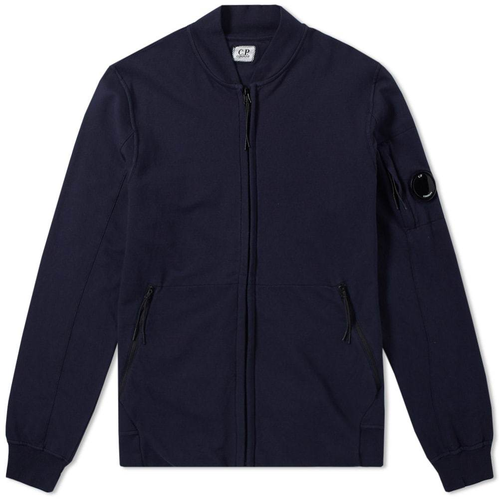 C.P. Company Garment Dyed Light Fleece Bomber Blue