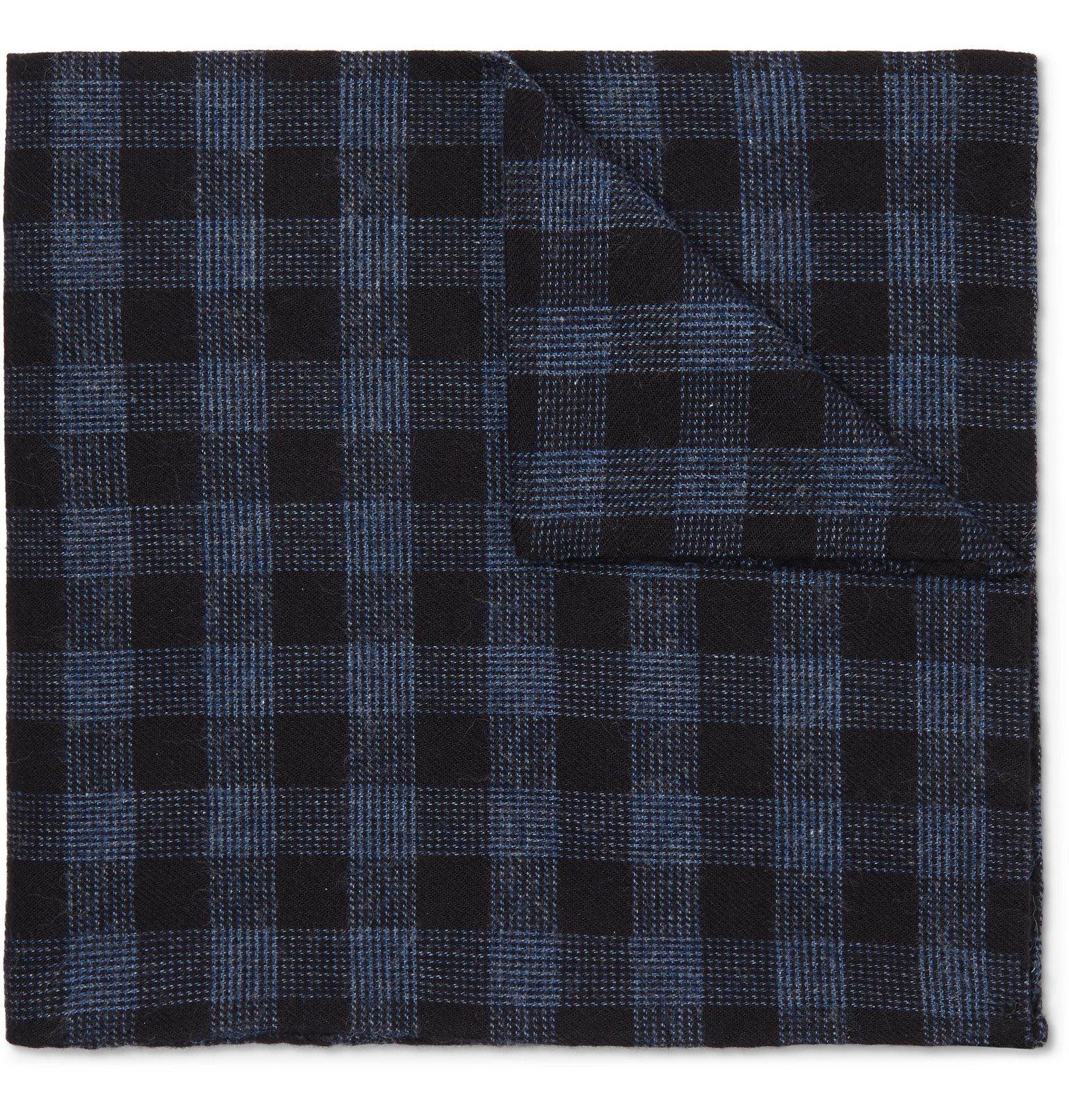 Photo: Oliver Spencer - Checked Cotton Pocket Square - Blue