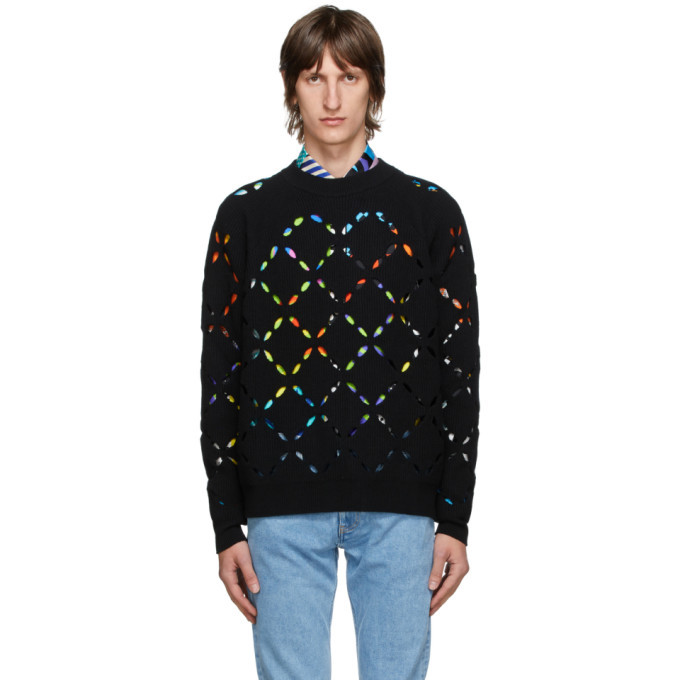 Photo: Versace Black Wool Cut Out Sweater