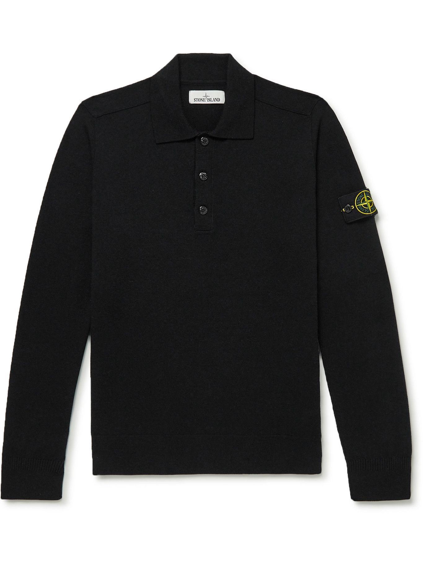 Photo: Stone Island - Wool-Blend Polo Shirt - Black