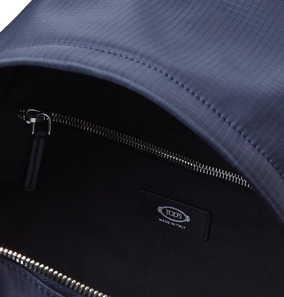 Tod's - Leather and Mesh-Trimmed Ripstop Backpack - Men - Midnight blue