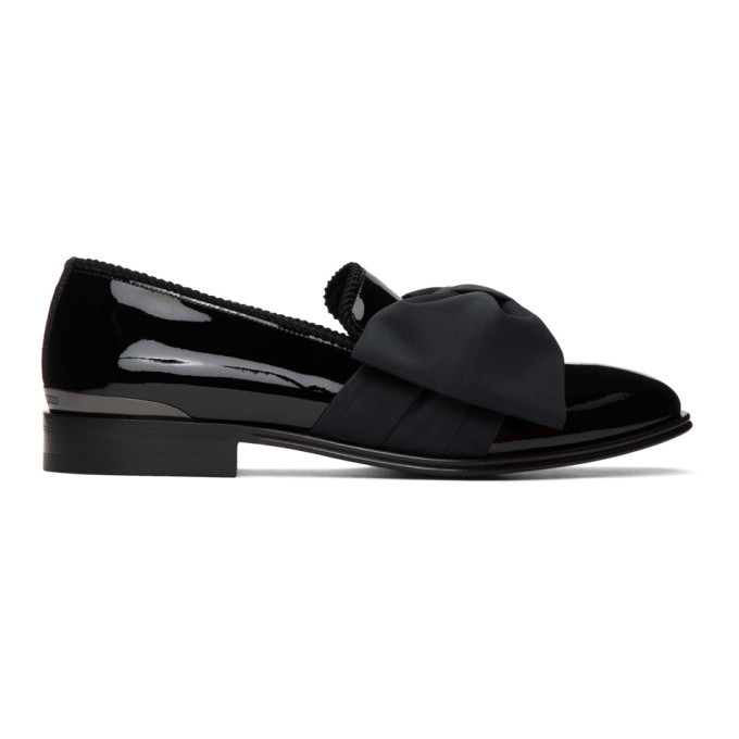 Photo: Alexander McQueen Black Patent Bow Loafers