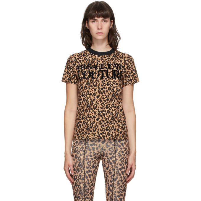Photo: Versace Jeans Couture Beige and Black Leopard Logo T-Shirt