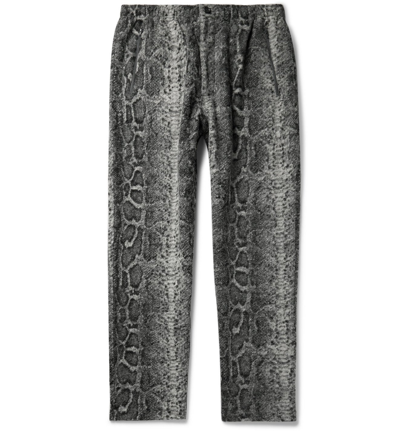 Photo: Engineered Garments - Tapered Snake-Print Textured-Knit Trousers - Gray