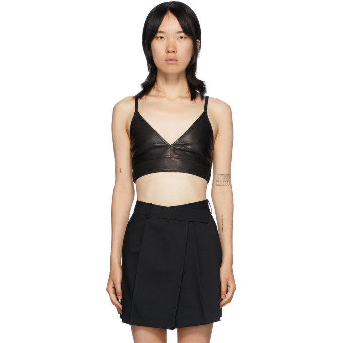 Photo: Helmut Lang Black Leather Bra Tank Top