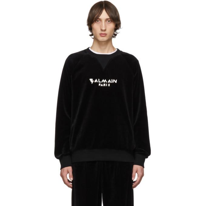 Photo: Balmain Black Velvet Logo Sweatshirt