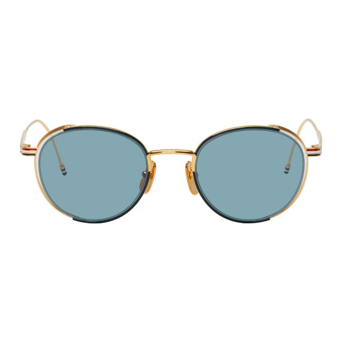Photo: Thom Browne Navy and Gold TB-106 Sunglasses