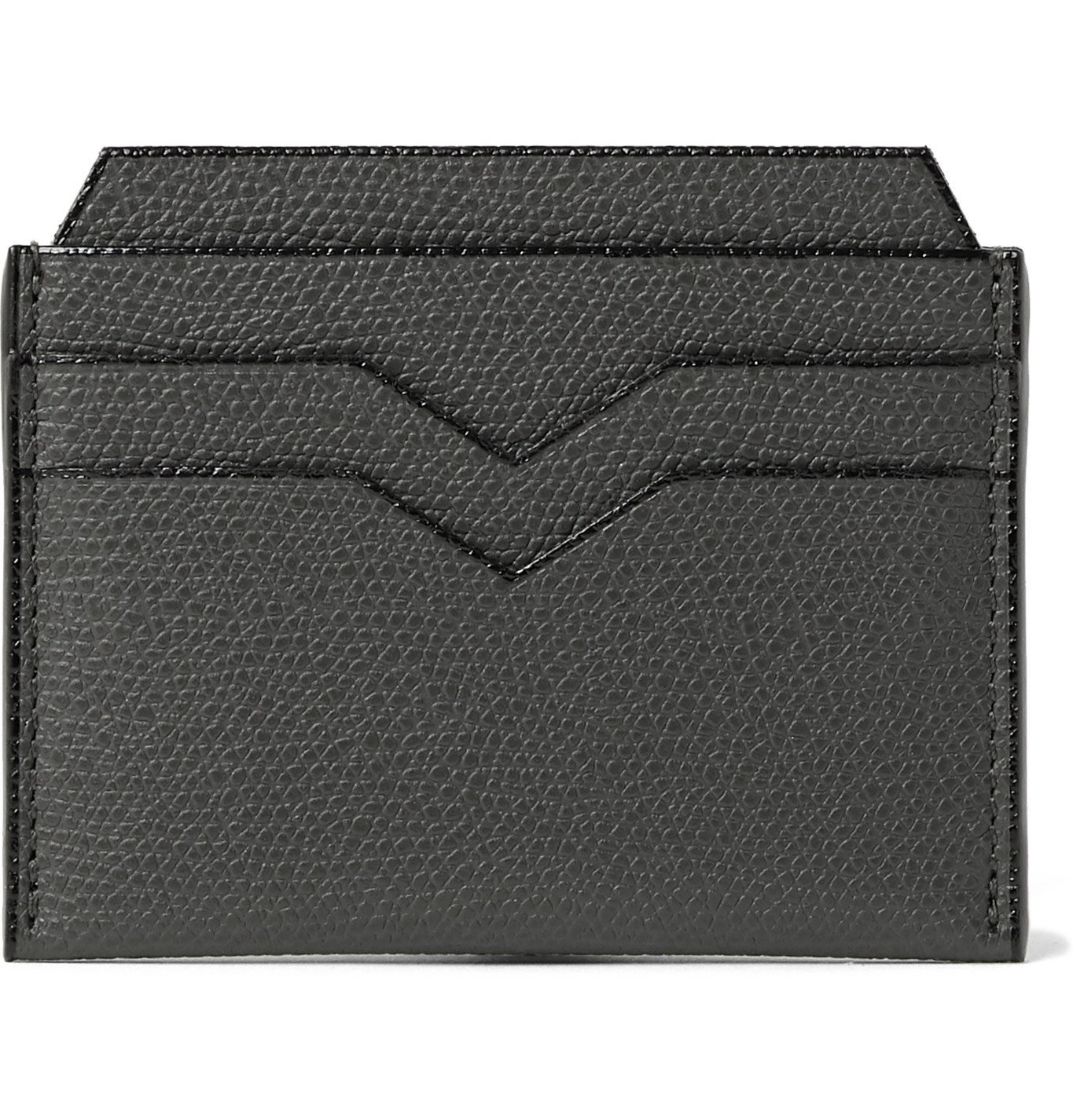 Photo: Valextra - Pebble-Grain Leather Cardholder - Gray
