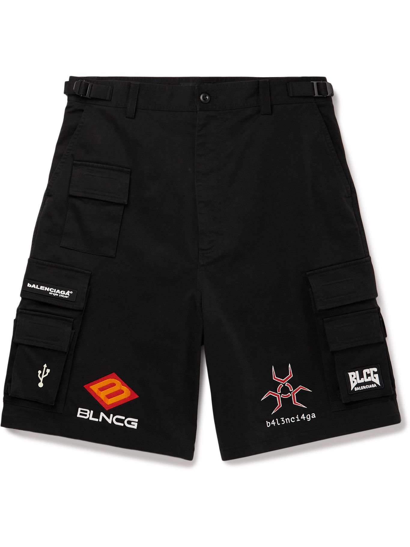 Photo: Balenciaga - Wide-Leg Logo-Appliquéd Cotton-Blend Gabardine Cargo Shorts - Black