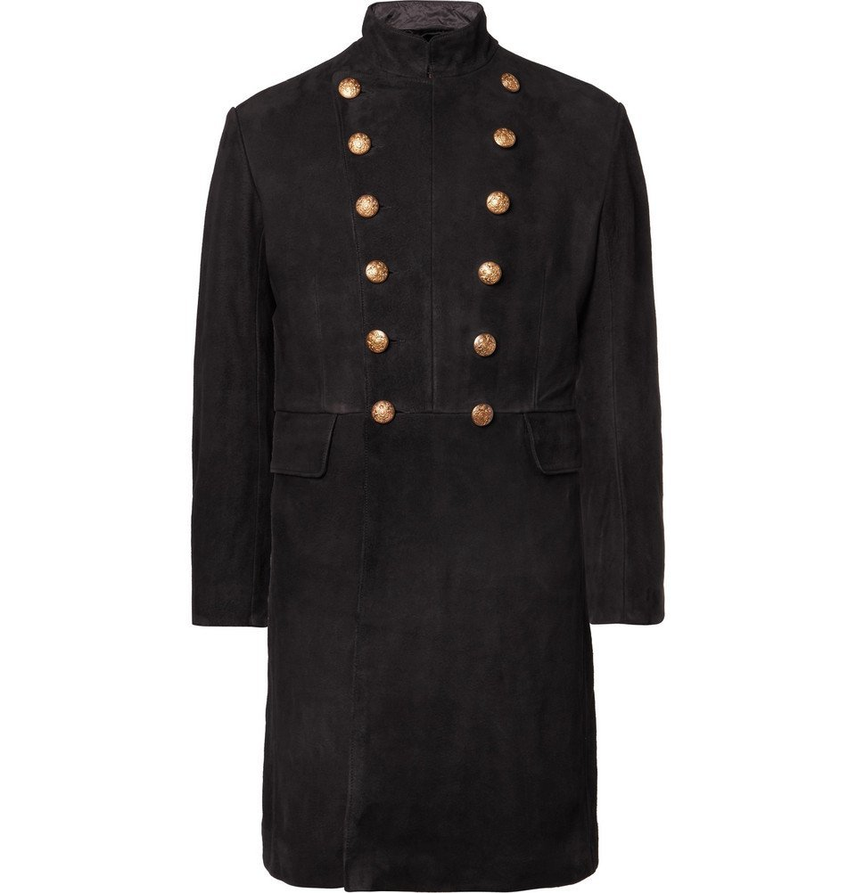 RRL - Slim-Fit Double-Breasted Suede Coat - Men - Black