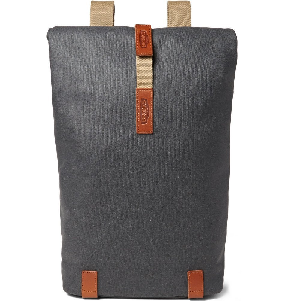 3d9ed78f8 Brooks England - Pickwick Medium Leather-Trimmed Cotton-Canvas Backpack -  Anthracite