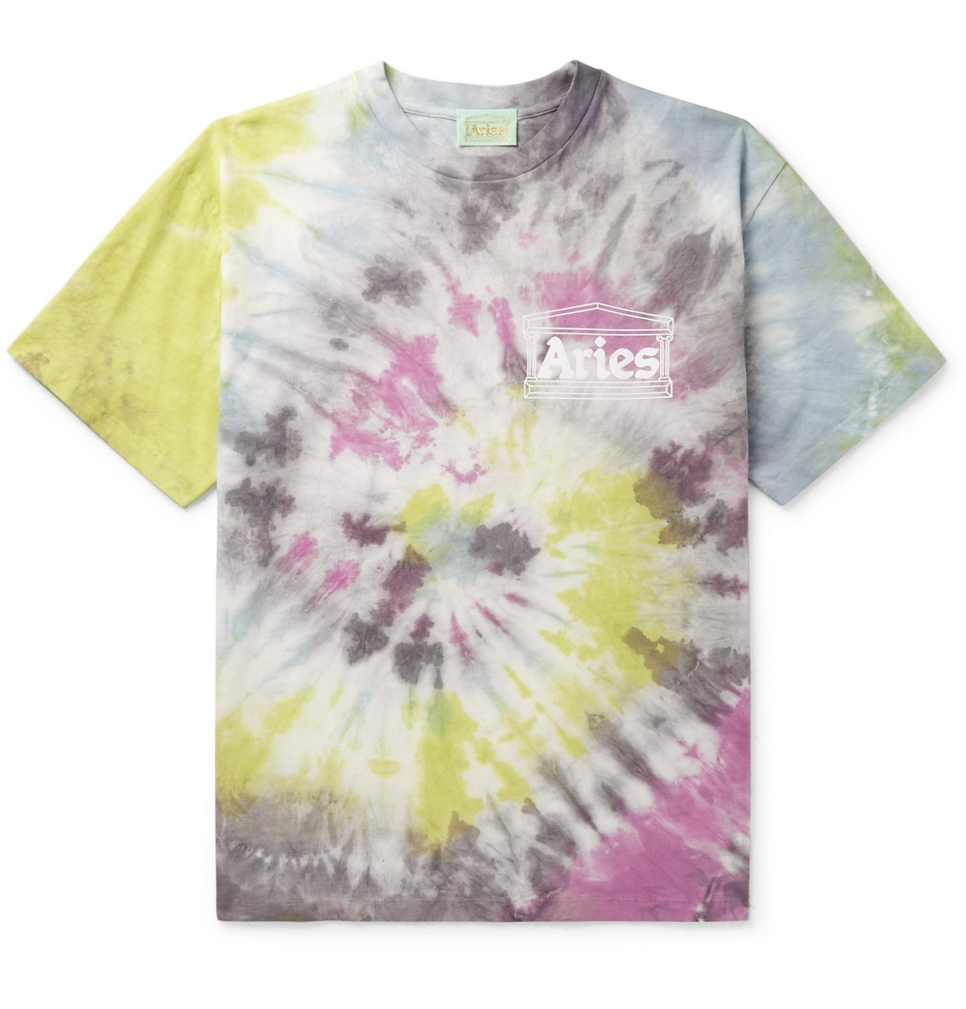 ARIES - Temple Logo-Print Tie-Dyed Cotton-Jersey T-Shirt - Multi