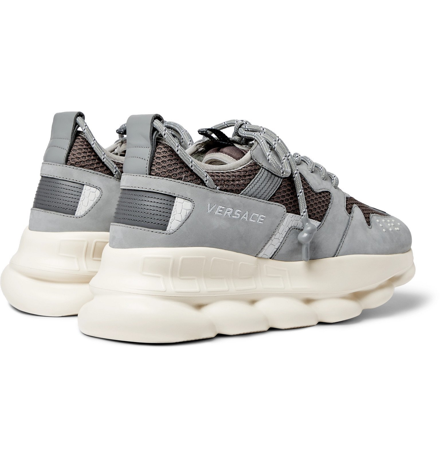 Versace - Chain Reaction 2.0 Panelled Suede and Mesh Sneakers - Gray