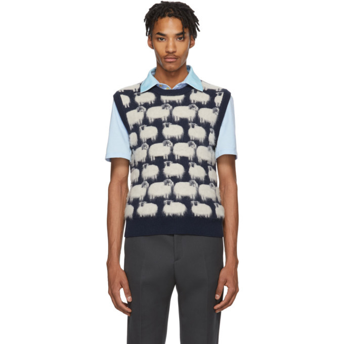 Photo: Lanvin Blue and White Wool Sheep Vest