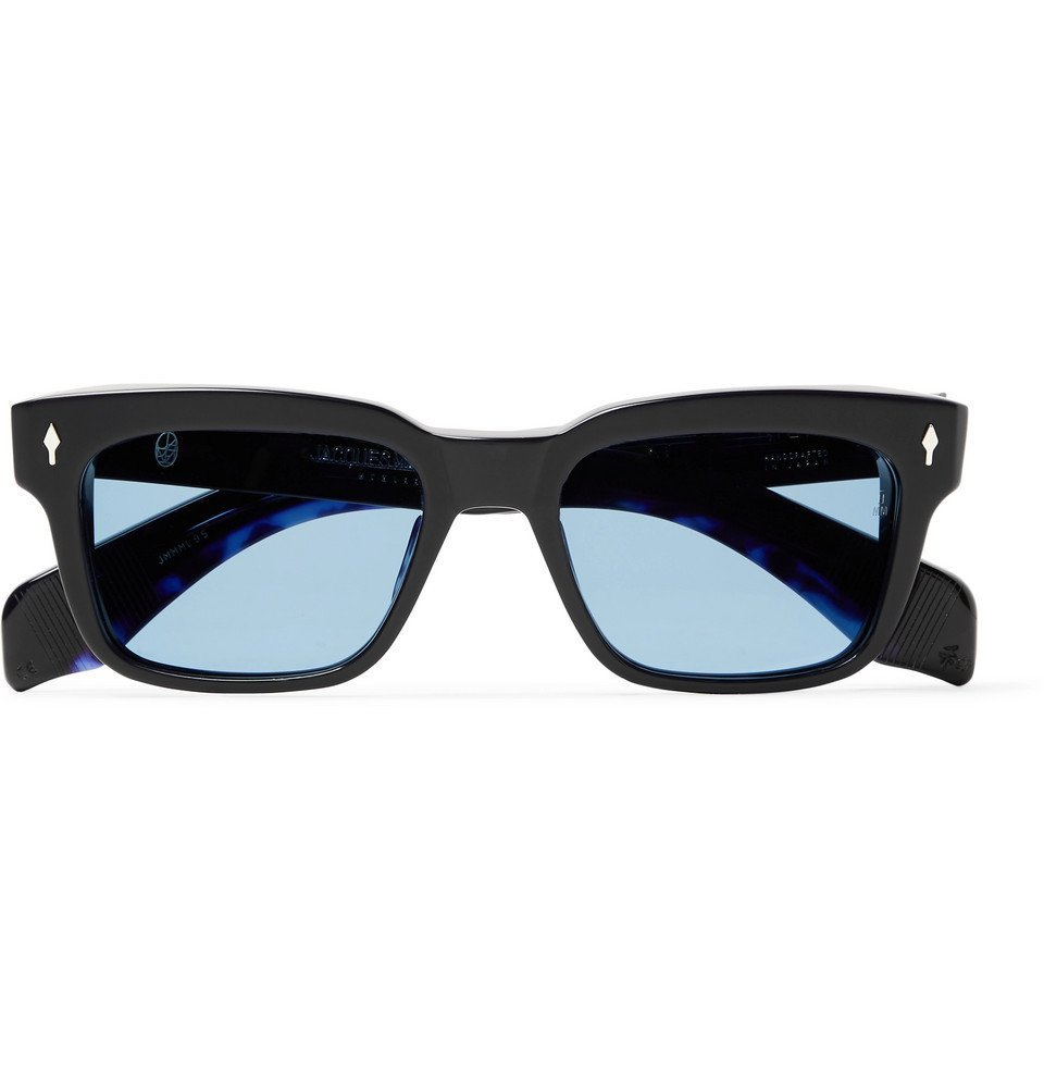 Photo: Jacques Marie Mage - Molino Square-Frame Acetate and Silver Sunglasses - Midnight blue