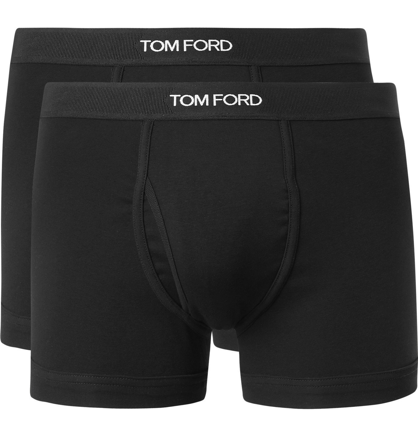 Photo: TOM FORD - Two-Pack Stretch-Cotton Boxer Briefs - Black