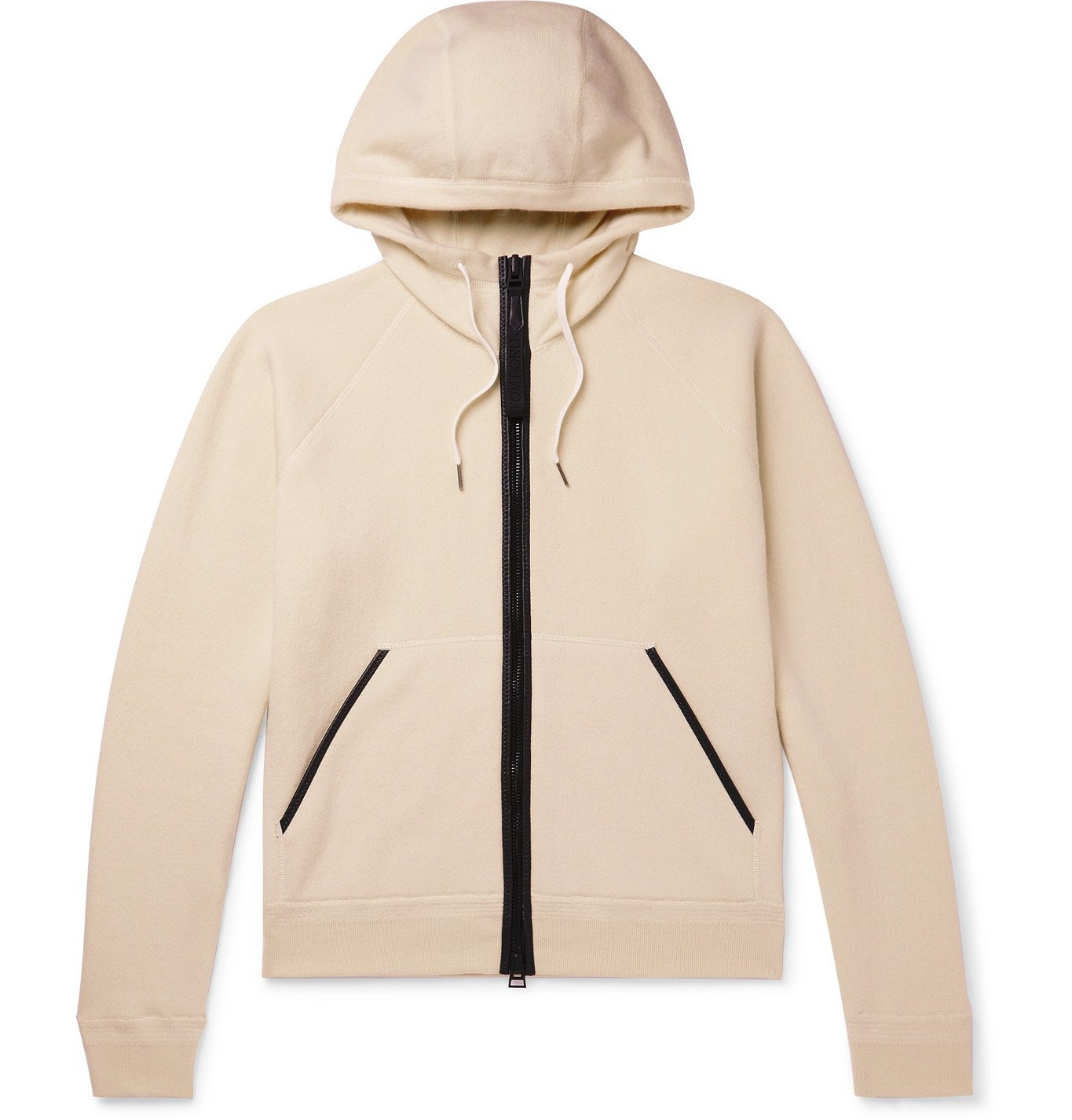 Photo: TOM FORD - Leather-Trimmed Cashmere-Blend Zip-Up Hoodie - Neutrals