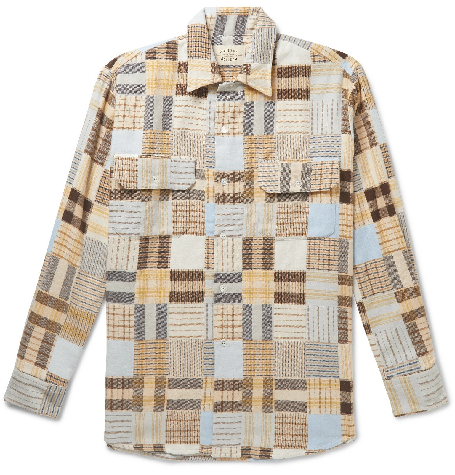 Photo: Holiday Boileau - Patchwork Checked Cotton-Flannel Shirt - Neutrals