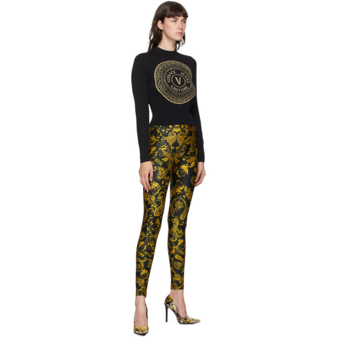 Versace Jeans Couture Black and Gold New Buttons Sweater
