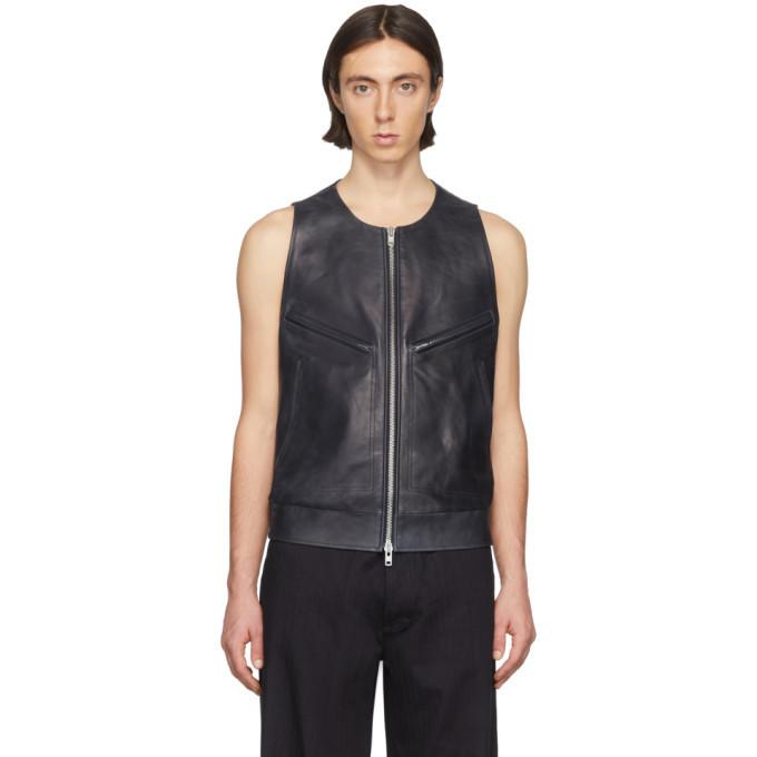 Photo: Maison Margiela Navy Leather Vest