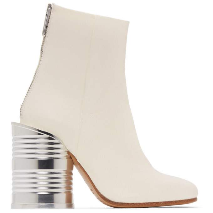 Photo: MM6 Maison Margiela White Leather Can Heel Boots