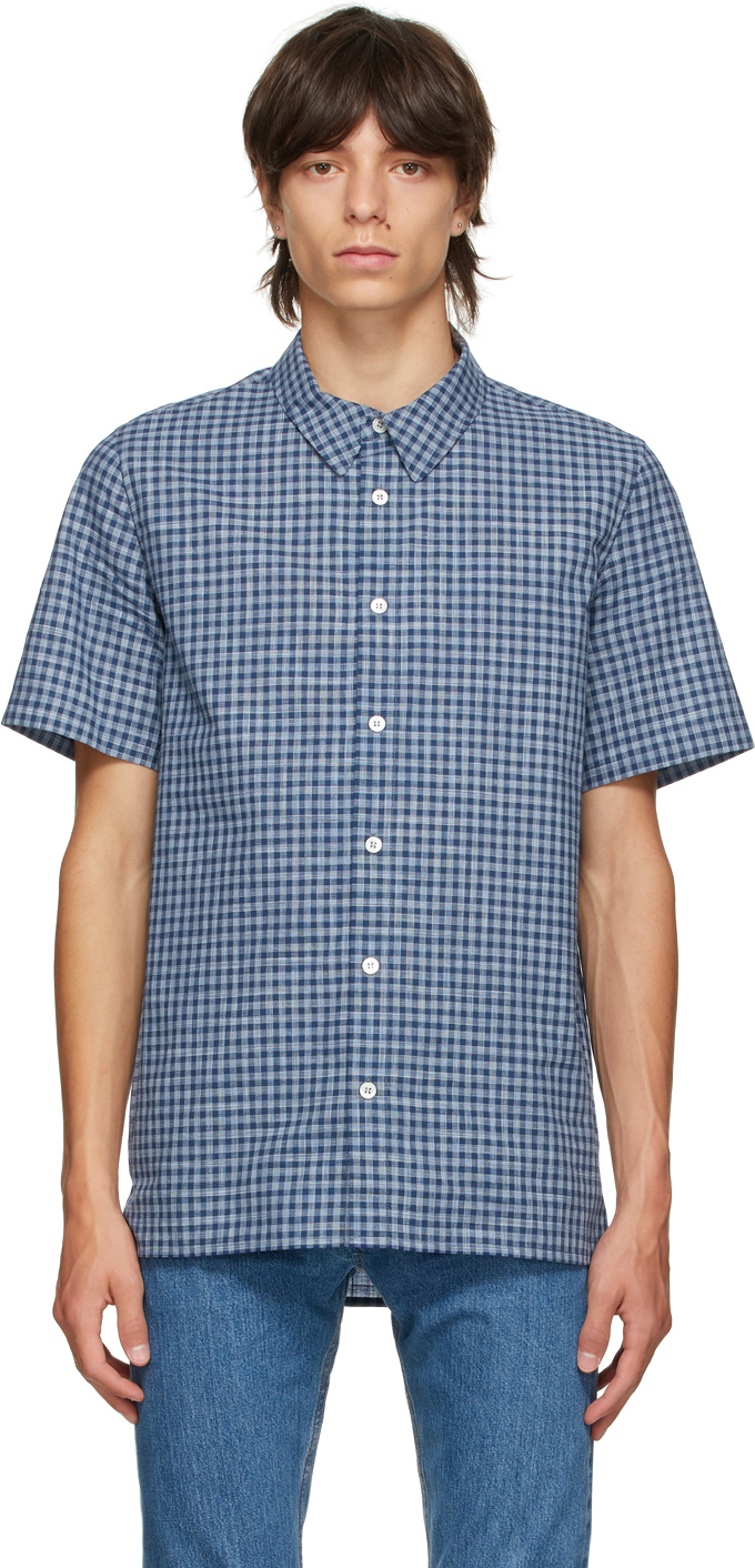 Photo: A.P.C. Navy & Grey Check Gabriel Short Sleeve Shirt