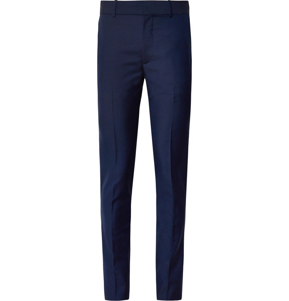 Photo: Alexander McQueen - Navy Slim-Fit Wool and Mohair-Blend Suit Trousers - Navy