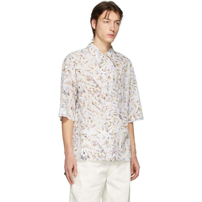 Lemaire White and Multicolor Convertible Collar Short Sleeve Shirt