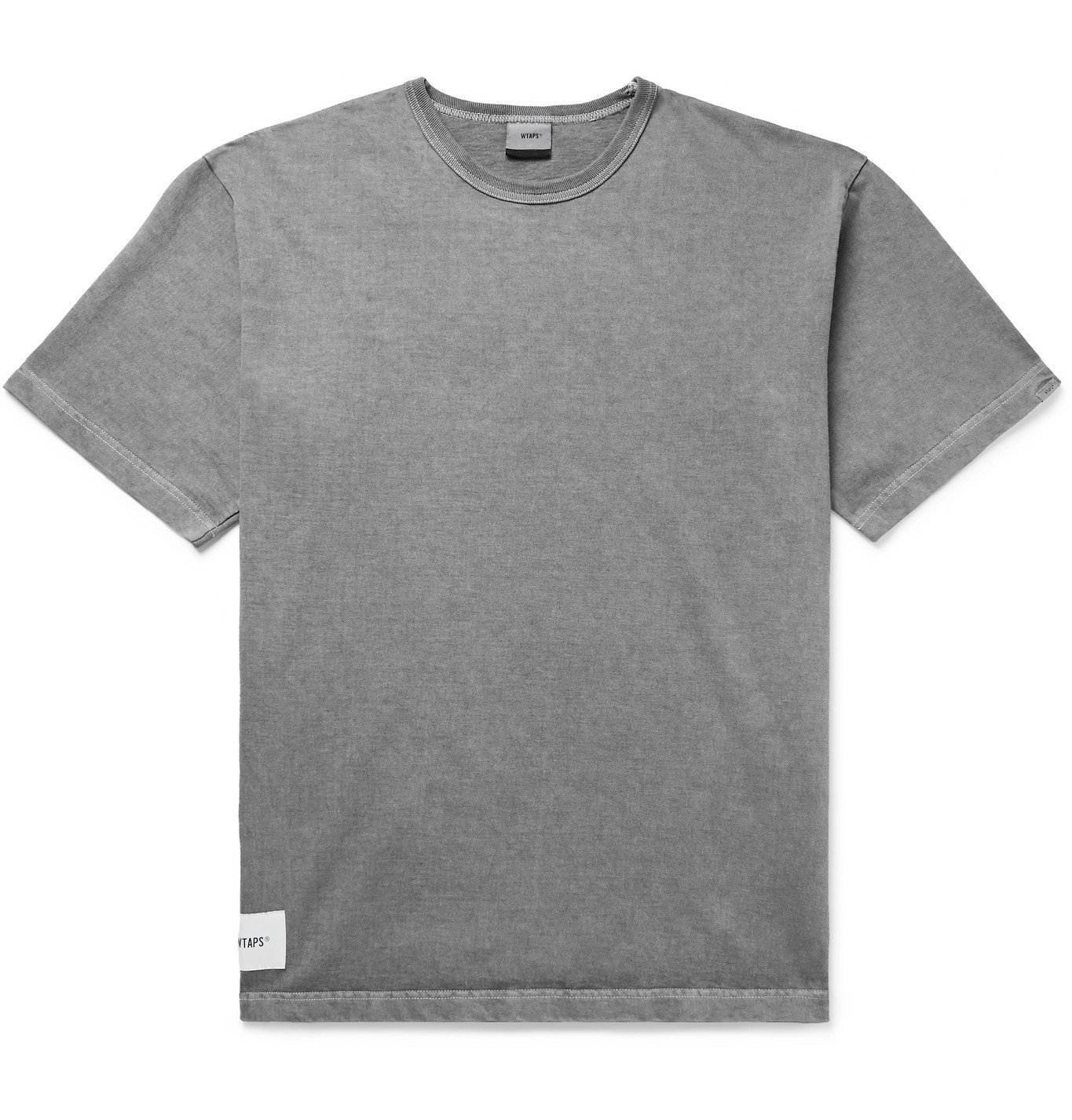 Photo: WTAPS - Sign Logo-Appliquéd Embroidered Pigment-Dyed Cotton-Jersey T-Shirt - Gray